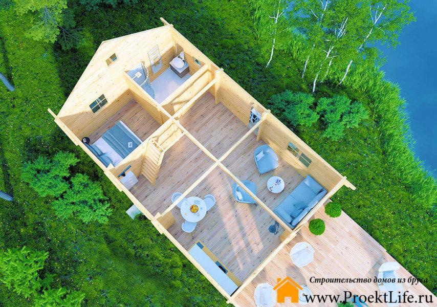 """Загородный дом из бруса 70 мм """"Кантон"""" планировка 1 этажа"""