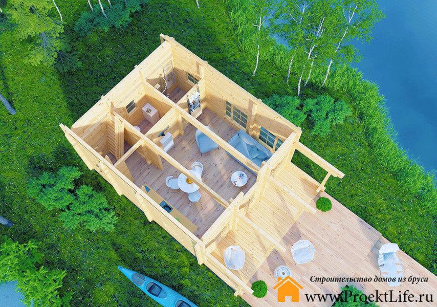 """Загородный дом из бруса 70 мм """"Верона"""" планировка 1 этажа"""