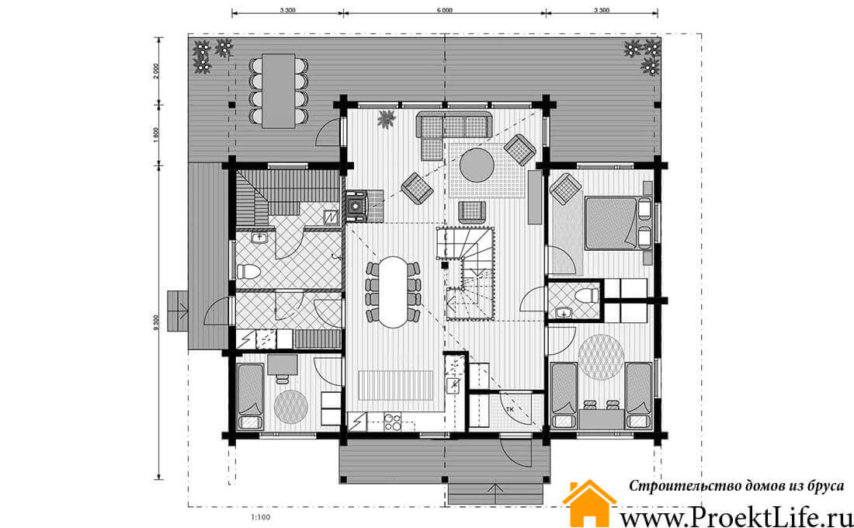 """Дом из бруса с баней 160x160 мм """"Аэлита"""" с мансардой план 1 этажа"""