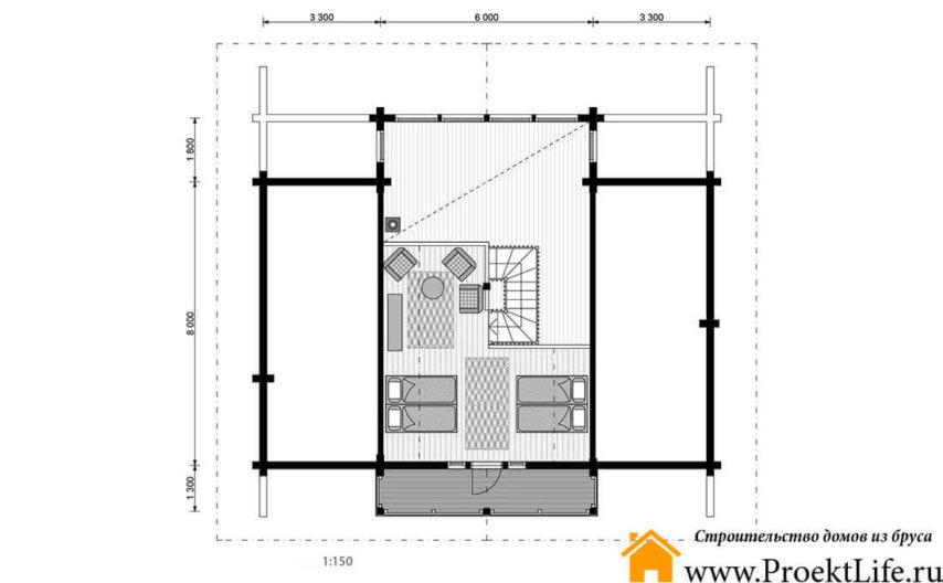 """Дом из бруса с баней 160x160 мм """"Аэлита"""" с мансардой план мансарды"""