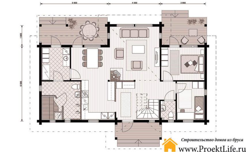 """Дом из бруса 160x160 мм """"Аврора"""" с баней план 1 этажа"""