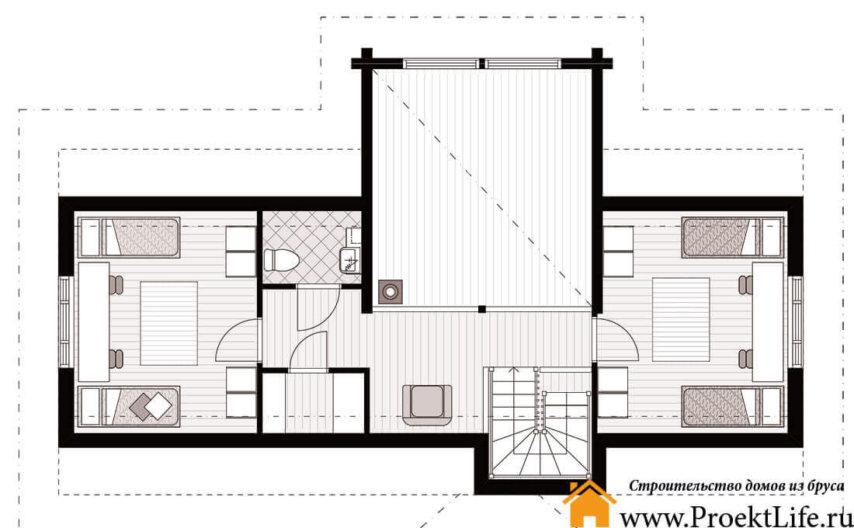 Дом из бруса 160x160 мм Аврора план мансарды