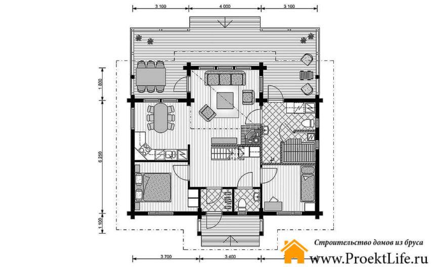 """Дом из бруса 160x160 мм """"Венеда"""" план 1 этажа"""