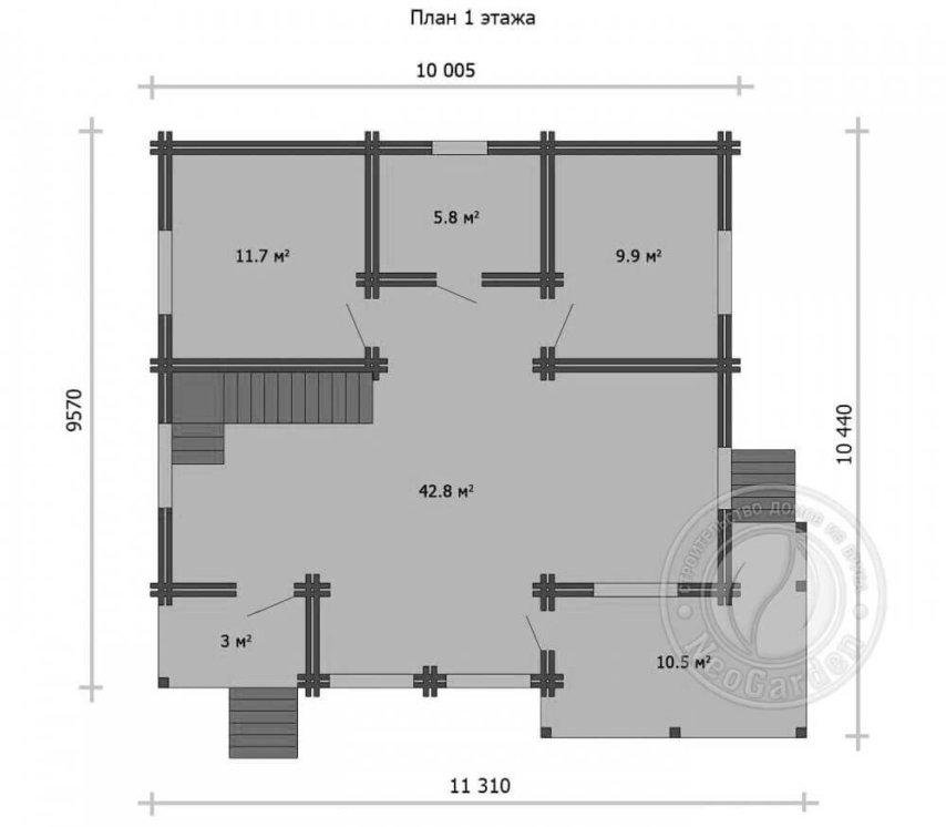 """Загородный дом из двойного бруса """"Амбассадор"""" план 1 этажа"""
