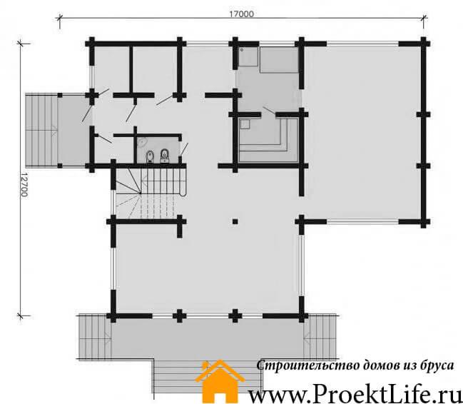 """Дом из бруса 165x165 мм """"Берлес"""" планировка 1 этажа"""