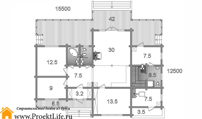 """Дом из бруса 165x165 мм """"Омикрон"""" проект"""