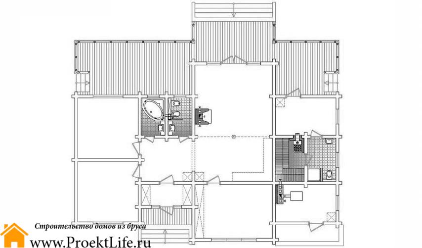 """Дом из бруса 165x165 мм """"Омикрон"""" проект 2"""