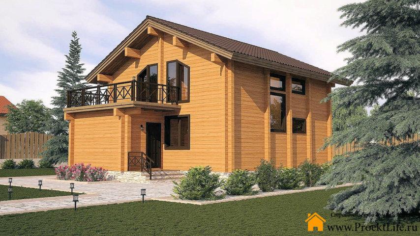 Двухэтажный загородный дом из бруса Орфей
