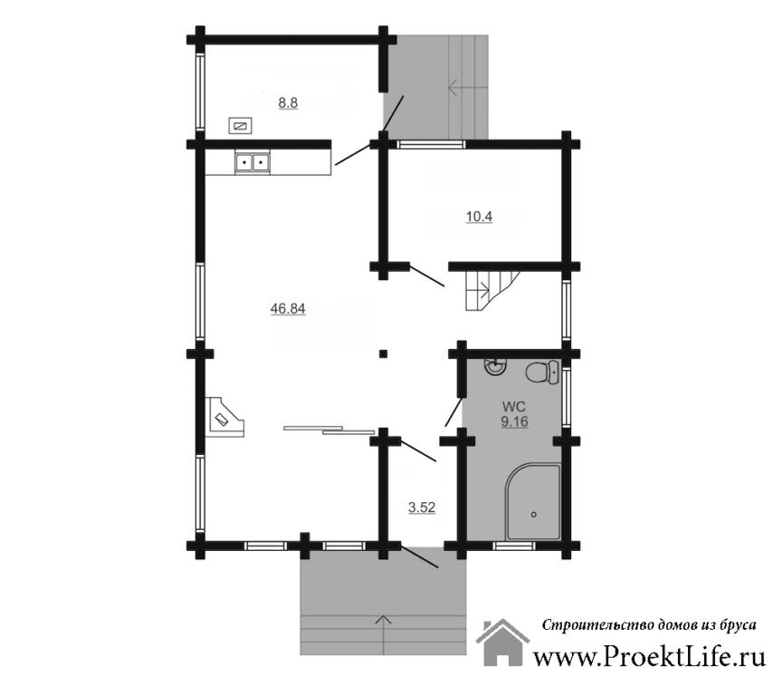дом из бруса Орфей план первого этажа