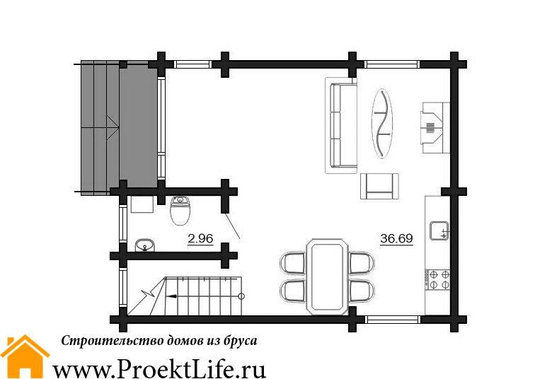 """Дом из бруса 165x165 мм """"Микеланджело"""" план схема 1"""