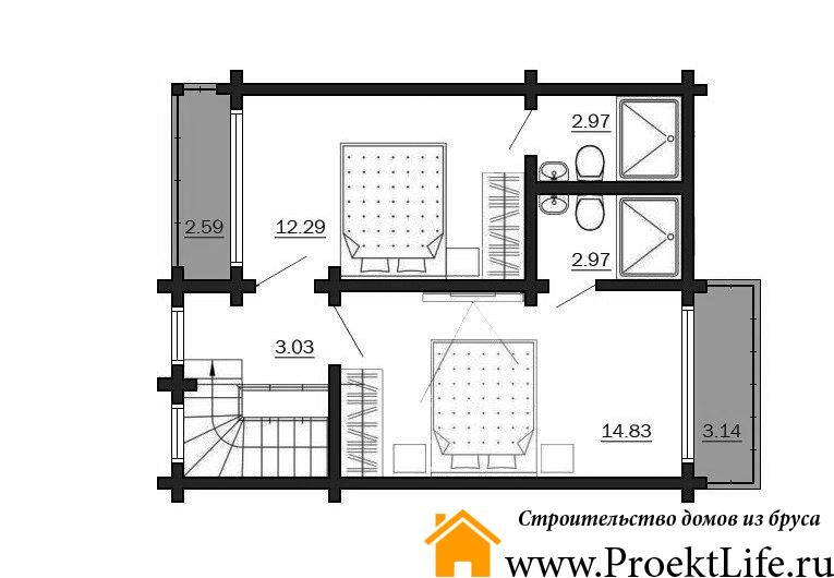 """Дом из бруса 165x165 мм """"Микеланджело"""" план 2 этажа"""