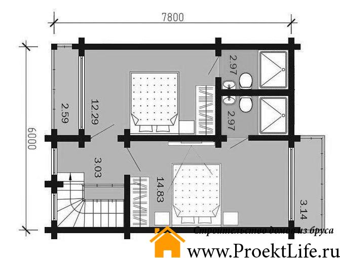 """Дом из бруса 165x165 мм """"Микеланджело"""" план 1 этажа"""