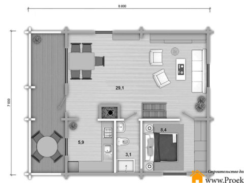 План 1 этаж дома из бруса 70 мм