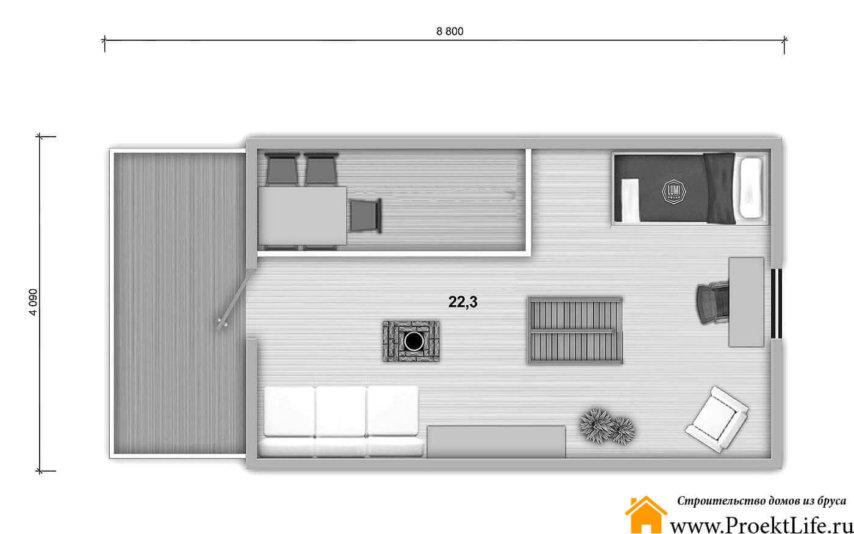 """План мансарды этаж дома из бруса 70 мм """"Элита"""""""