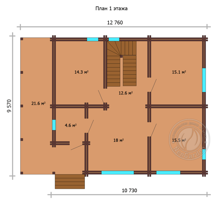 """Дом из двойного бруса """"Милтон"""" план 1 этажа"""