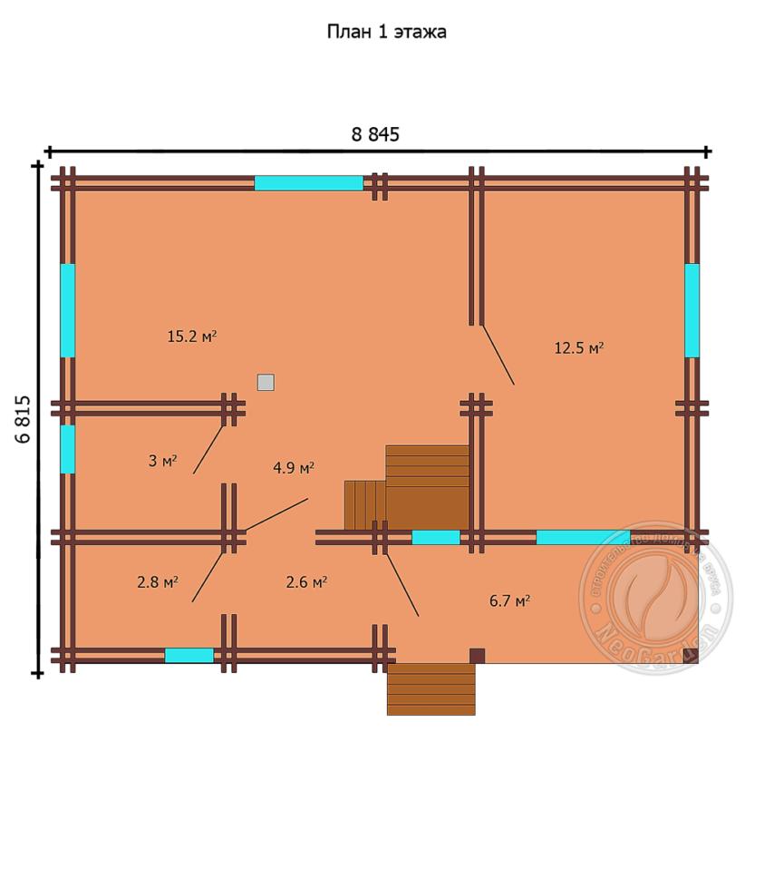 """Дом из двойного бруса """"Освальд"""" план 2 этажа"""