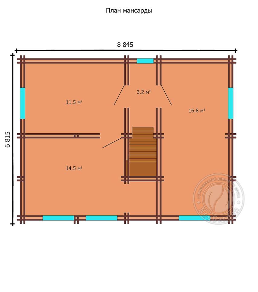 """Дом из двойного бруса """"Освальд"""" план 1 этажа"""