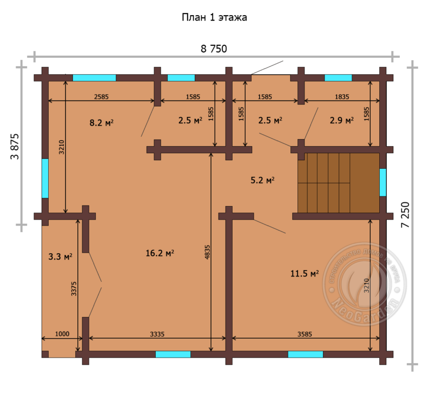 "Дом из бруса 165 мм ""Касабланка"" план 1 этажа"