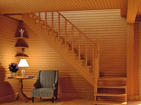 Готовая лестницы на второй этаж К-002м-1