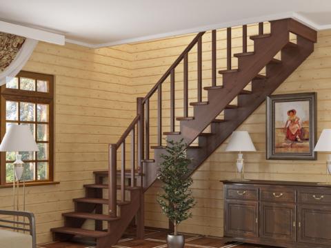 Готовая лестницы на второй этаж К-002м-2