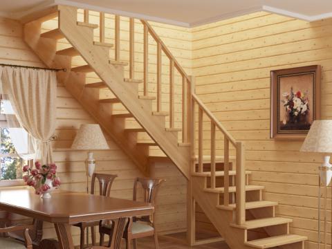 Готовая лестницы на второй этаж К-002м-3