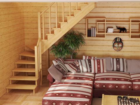 Готовая лестницы на второй этаж К-001м-2