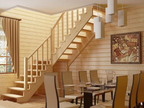 Готовая лестницы на второй этаж К-002м-4