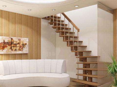 Готовая лестницы на второй этаж К-008м