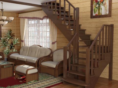 Готовая лестницы на второй этаж К-021м