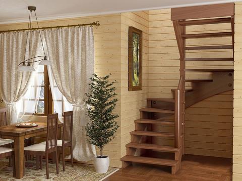 Готовая лестницы на второй этаж К-003м-2