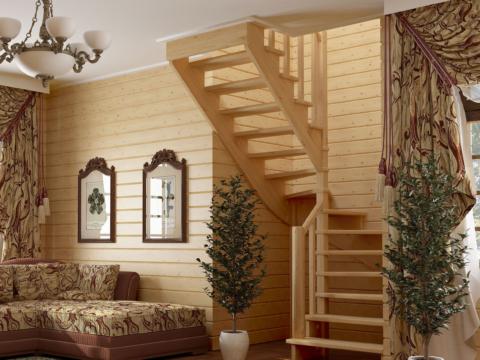 Готовая лестницы на второй этаж К‑003м‑4