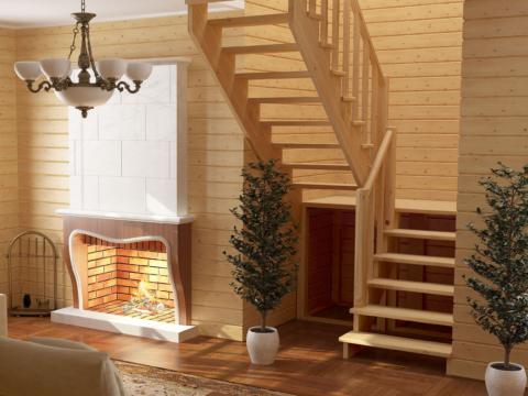 Готовая лестницы на второй этаж К‑004м‑4