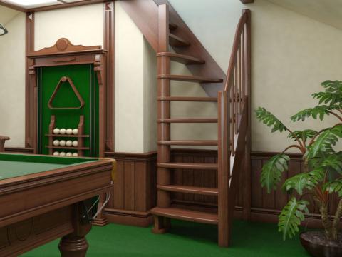 Готовая лестницы на второй этаж К-091м‑1