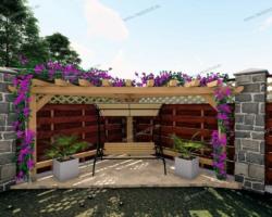 Угловая открытая садовая беседка — фото проект