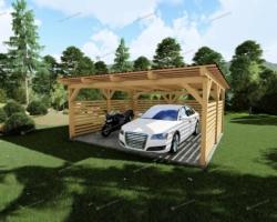 Навес для машины с односкатной крышей — фото проект