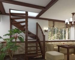 Готовая лестницы на второй этаж ЛС-04м