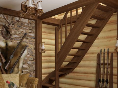 Готовая лестницы на второй этаж ЛС-07м-1