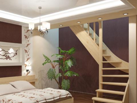 Готовая лестницы на второй этаж ЛС-07м-4