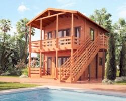 """Двухэтажный гостевой дом из бруса 45 мм """"Пляжный рай"""""""