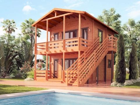 Двухэтажный гостевой дом из бруса 45 мм