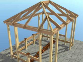Беседка своими руками с четырёхскатной крышей -Проект беседки своими руками