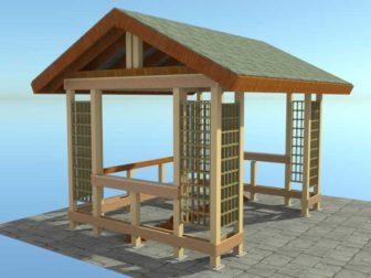 Деревянная беседка с двускатной крышей для дома, дачи, садовая беседка