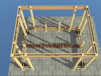беседка своими руками - с двускатной крышей- верхняя обвязка