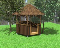 Конструкция круглой садовой беседки
