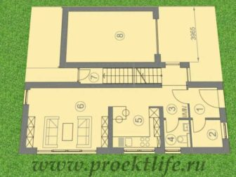 каркасный дом с плоской крышей, Каркасный дом с односкатной крышей - Каркасный дом с односкатной крышей -  336x252