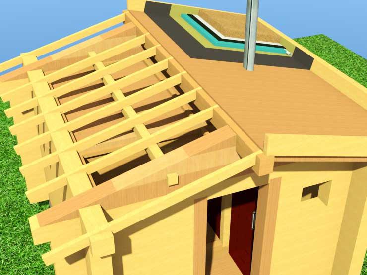 Баня своими руками труба потолок