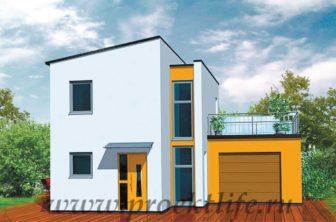 каркасный дом с плоской крышей, Каркасный дом с односкатной крышей - Каркасный дом с односкатной крышей -  с односкатной крышей 336x222