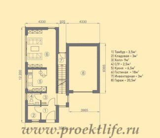 каркасный дом с односкатной крышей -проект 1-этаж