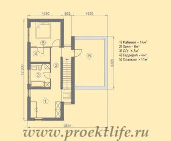 каркасный дом с плоской крышей, Каркасный дом с односкатной крышей - Каркасный дом с односкатной крышей - 2 этаж 336x278