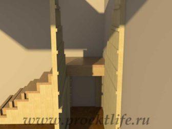 Лестница на второй этаж с кладовкой